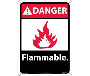 Danger Flammable (W/Graphic) 14X10 Rigid Plastic
