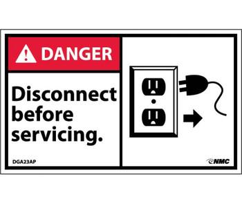 Danger Disconnect Before Servicing (Graphic) 3X5 Ps Vinyl 5/Pk