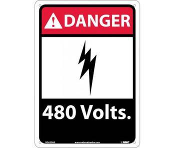 Danger 480 Volts 14X10 .040 Alum