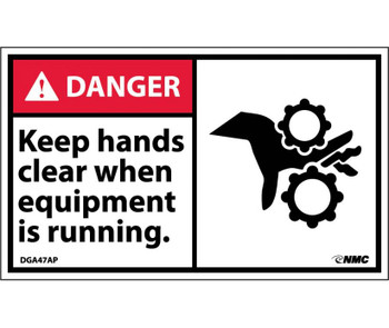 Danger Keep Hands Clear When Equipment Is Running 3X5 Ps Vinyl 5/Pk