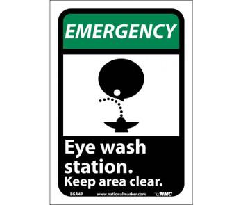 Emergency Eye Wash Station Keep Area Clear (W/Graphic) 10X7 Ps Vinyl