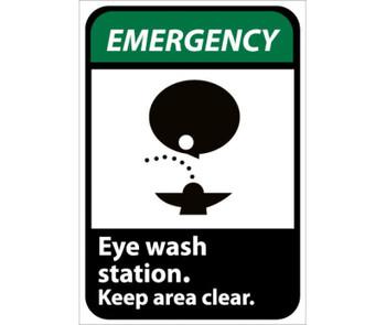 Emergency Eye Wash Station Keep Area Clear (W/Graphic) 10X7 Rigid Plastic