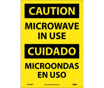 Caution Microwave In Use Bilingual 14X10 Ps Vinyl