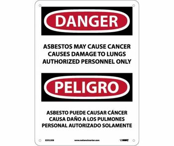 Peligro Asbestos May Cause Cancer Causes Damage To Lungs Authorized Personnel Only 10 X 14 Rigid Plastic