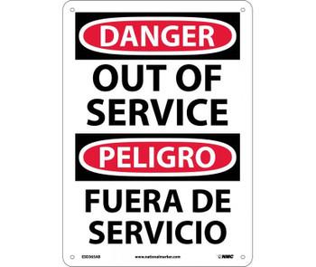 Danger Out Of Service Bilingual 14X10 .040 Alum