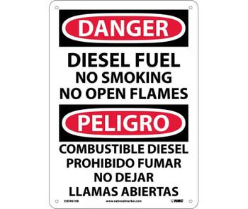 Danger Diesel Fuel No Smoking No Open Flames Bilingual 14X10 .040 Alum