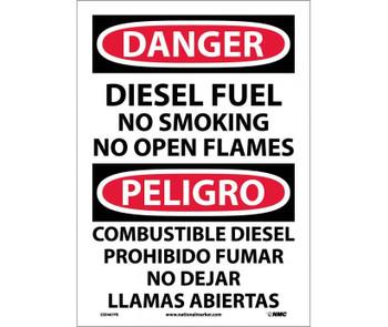 Danger Diesel Fuel No Smoking No Open Flames Bilingual 14X10 Ps Vinyl