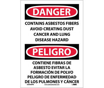 Danger Contains Asbestos Fibers Avoid Creating Dust Cancer And Lung Disease Hazard Bilingual 14X10 Ps Vinyl