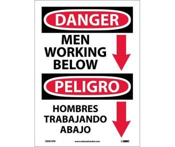 Danger Men Working Below (Graphic) Bilingual 14X10 Ps Vinyl