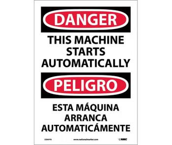 Danger This Machine Starts Automatically (Bilingual) 14X10 Ps Vinyl