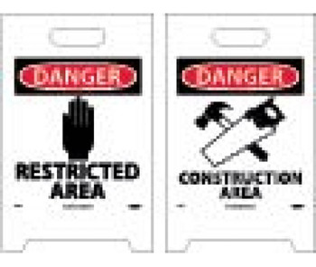 Floor Sign Dbl Side Danger Restricted Area Danger Construction Area 19X12