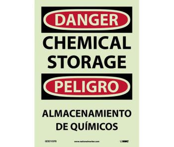Danger Chemical Storage Bilingual 14X10 Ps Glo Vinyl