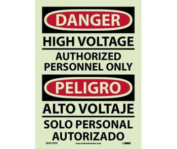 Danger High Voltage Authorized Personnel Only Bilingual 14X10 Ps Glo Vinyl