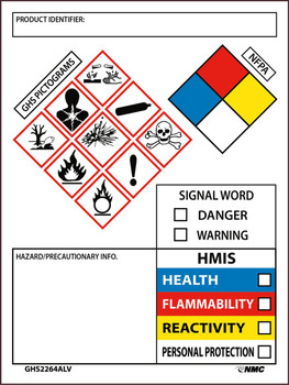 Ghs Secondary Container Labels Write-On With Picto Images Nfpa Hmis,Signal Word Info 4X3 Ps Vinyl 250Roll