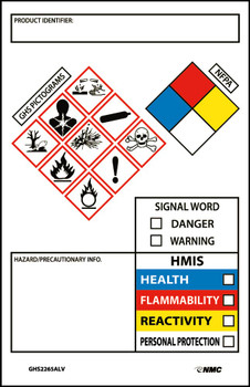 """Ghs Secondary Container Labels Picto Images Hmis Nfpa,Hazard/Precaution Info,3.5""""X2.25"""",Ps Vinyl 250Roll"""