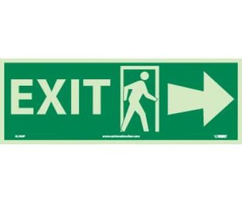 Exit (W/ Door And Right Arrow) 5X14 Ps Glow