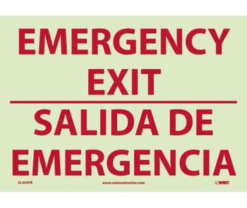 Emergency Exit Bilingual 10X14 Ps Glo Vinyl