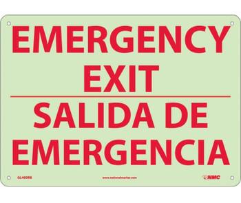 Emergency Exit Bilingual 10X14 Glo Rigid Plastic