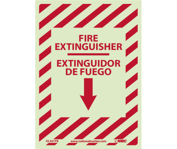 Fire Extinguisher Down Arrow  Bilingual 14X10 Ps Glo Vinyl