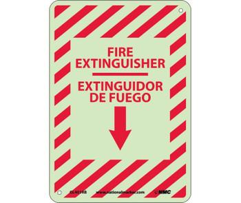 Fire Extinguisher Down Arrow  Bilingual 14X10 Glo Rigid Plastic