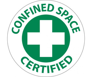 """Confined Space Certified Graphic 2"""" Dia Ps Vinyl 25/Pk"""