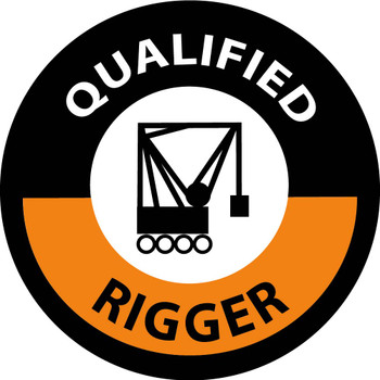 """Hard Hat Label Qualified Rigger Graphic 2""""Dia. Reflective Ps Vinyl 25/Pk"""