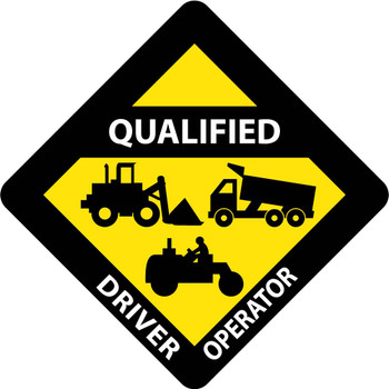"""Hard Hat Label Qualified Driver Operator  2"""" X 2"""" Reflective Ps Vinyl 25/Pk"""