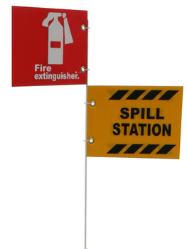 """Jsc 5' Pole Only W/ 10"""" X 7"""" Alum. Fire Extinguisher And Spill Kit Signs"""
