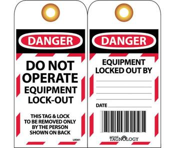 Rfid Tag Danger Do Not Operate Equipment Lock Out 6X3 Unrip Vinyl W/Grommet 10/Pk