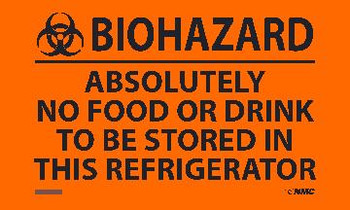 (Graphic) Biohazard Absolutely No Food Or Drink To Be Stored In This Refrigerator 3X5  Ps Vinyl 5Pk Label