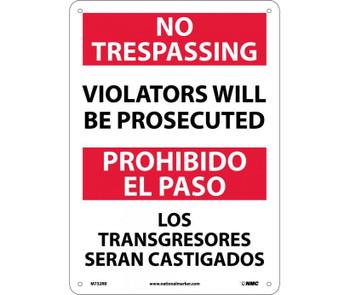 No Trespassing Violators Will Be Prosecuted Bilingual 14X10 Rigid Plastic