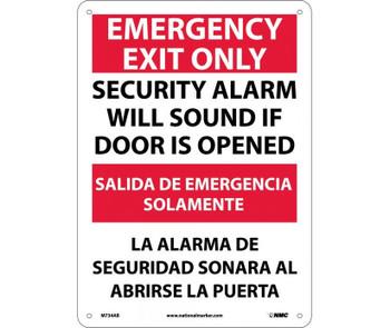 Emergency Exit Security Alarm Will Sound If Door Is Opened Bilingual 14X10 .040 Alum