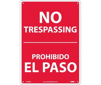 No Trespassing Bilingual 14X10 Rigid Plastic