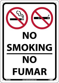 No Smoking No Fumar Sign 14X10  Ridig Plastic