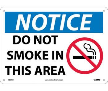 Notice Do Not Smoke In This Area Graphic 10X14 Rigid Plastic