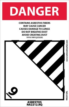Label Danger Contains Asbestos Fibers Avoid Creating Dust Cancer And Lung Disease Hazard Asbestos Na2212 4X6 Ps Paper 500/Rl