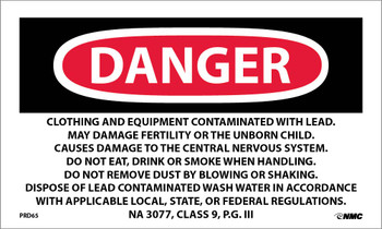 Labels Danger Lead Containing Hazard Waste Avoid Creating Dust Rq Hazardous Substance Solid N.O.S. (Paint Residue-Lead) Na 3077 Class 9 P.G. Iii 3X5 Ps Paper 500/Rl
