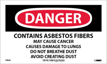 Labels Danger Contains Asbestos . . . 3X5 Ps Paper 500/Rl