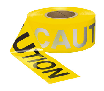 Day/Night Barricade Caution Tape 3 X 1000 3 Mil Black/Silver Reflective Letters Yellow Background
