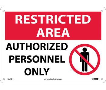 Restricted Area Authorized Personnel Only Graphic 10X14 Rigid Plastic