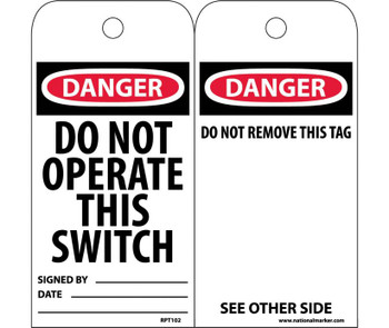 Tags Do Not Operate This Switch 6X3 Unrip Vinyl 25/Pk