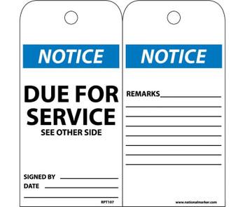 Tags Notice Due For Service 6X3 Unrip Vinyl 25/Pk