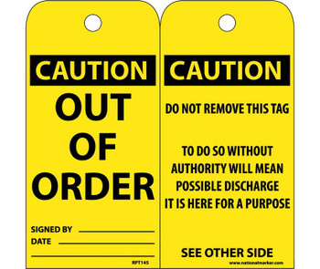 Tags Out Of Order 6X3 .015 Mil Unrip Vinyl 25 Pk