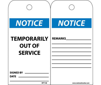 Tags Temporarily Out Of Service 6X3 .015 Mil Unrip Vinyl 25 Pk