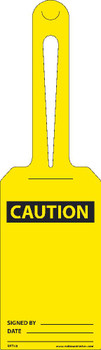 Caution Blank Ez Hang Tags Self Fastening 11.25 X 3.25 .015 Unrip Vinyl 25/Pk