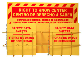 Bilingual Rtk Center 20 X 28 2 Baskets 2 Rtk61Bi Binder And Chain Red On Yellow 3Mm Heavy Duty Rigid Plastic