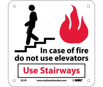 In Case Of Fire Do Not Use Elevators Use.. (W/ Graphic) 7X7 Rigid Plastic