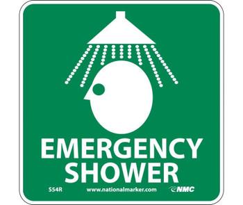 Emergency Shower (W/ Graphic) 7X7 Rigid Plastic