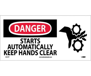Danger Starts Automatically Keep Hands Clear (W/ Graphic) 7X17 Ps Vinyl