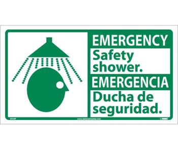 Emergency Safety Shower (Bilingual W/Graphic) 10X18 Ps Vinyl